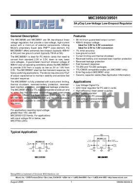 MIC39500-2.5BU datasheet - 5A lCap Low-Voltage Low-Dropout Regulator