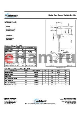 MT5260P-UG datasheet - Metal Can Green Visible Emitter