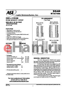 MT5C1005DCJ-35L/IT datasheet - 256K x 4 SRAM SRAM MEMORY ARRAY
