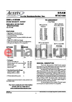 MT5C1005F-55/883C datasheet - 256K x 4 SRAM SRAM MEMORY ARRAY