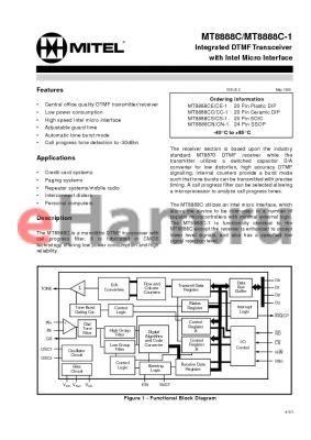 MT8888CS-1 datasheet - Integrated DTMFTransceiver with Intel Micro Interface