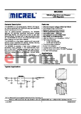 MIC5305-1.8YD5 datasheet - 150mA lCap Ultra-Low Dropout LDO Regulator