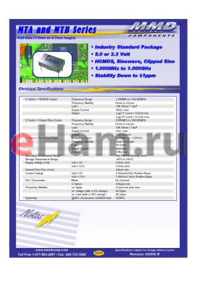 MTA350SFV datasheet - Full-Size (7.3mm or 4.7mm height)