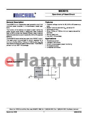MIC6315-41D2U datasheet - Open-Drain lP Reset Circuit