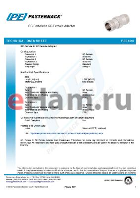 PE9404 datasheet - SC Female to SC Female Adapter