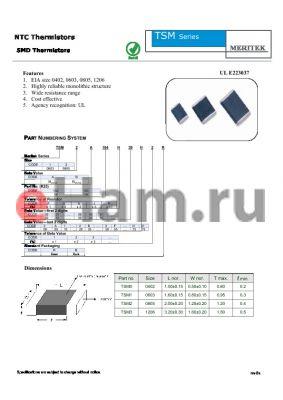 TSM2A103G30A3R datasheet - NTC Thermistors SMD Thermistors