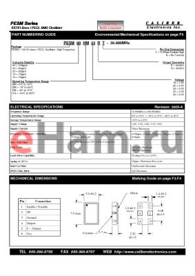 PESM10HM33ST datasheet - 5X7X1.6mm / PECL SMD Oscillator