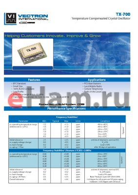 TX-7000-EFP-106 datasheet - Temperature Compensated Crystal Oscillator