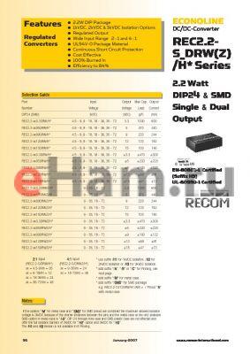 REC2.2-0515DRWH2AM datasheet - 2.2 Watt DIP24 & SMD Single & Dual Output