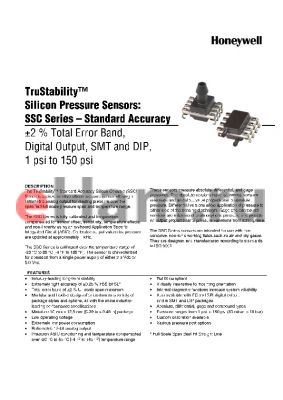 SSCMRND030PC3A5 datasheet - TruStability silicon Pressure Sensors: SSC Series-Standard Accuracy -2% total Error band,Digital output,SMT and DIP,1 psi to 150 psi