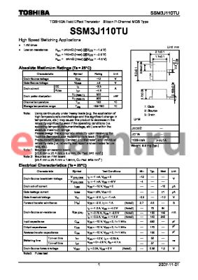 SSM3J110TU datasheet - Field Effect Transistor Silicon P-Channel MOS Type High Speed Switching Applications