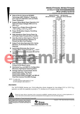 SN74ALVTH162244DL datasheet - 2.5-V/3.3-V 16-BIT BUFFERS/DRIVERS WITH 3-STATE OUTPUTS