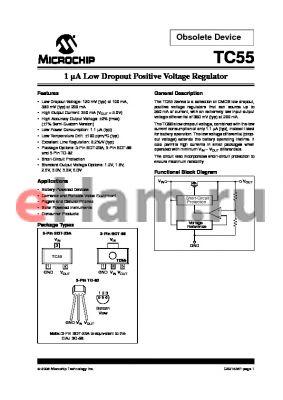 TC552502ECB713 datasheet - 1 lA Low Dropout Positive Voltage Regulator