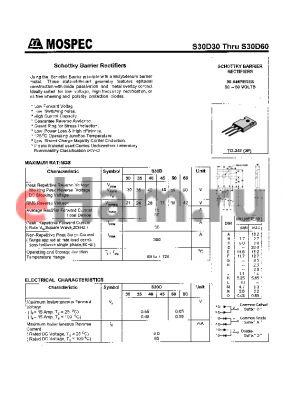 S30D40C datasheet - SCHOTTKY BARRIER RECTIFIERS(30A,30-60V)