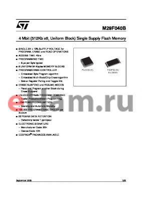 M29F04B70K3E datasheet - 4 Mbit (512Kb x8, Uniform Block) Single Supply Flash Memory