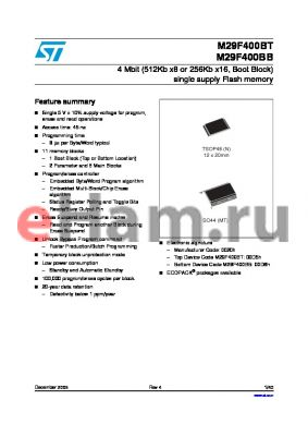 M29F400BB45M1T datasheet - 4 Mbit (512Kb x8 or 256Kb x16, Boot Block) single supply Flash memory