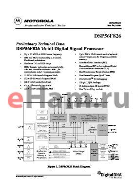 DSP56800FMD datasheet - Preliminary Technical Data DSP56F826 16-bit Digital Signal Processor