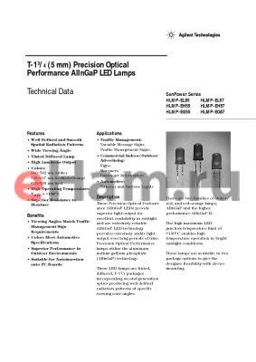 HLMP-EG55-JNK00 datasheet - T-1 3/4 (5 mm) Precision Optical Performance AlInGaP LED Lamps