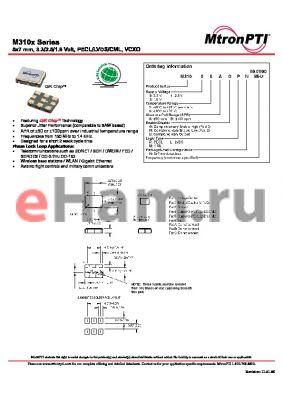 M31002BULN datasheet - 5x7 mm, 3.3/2.5/1.8 Volt, PECL/LVDS/CML, VCXO