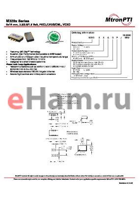 M32006AMPJ datasheet - 9x14 mm, 3.3/2.5/1.8 Volt, PECL/LVDS/CML, VCXO