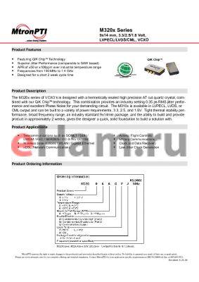 M32012AGLJ datasheet - 9x14 mm, 3.3/2.5/1.8 Volt, LVPECL/LVDS/CML, VCXO