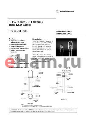 HLMP-KB25-H0002 datasheet - T-1 3/4 (5 mm), T-1 (3 mm) Blue LED Lamps