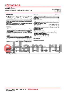 M3455AGC-XXXFP datasheet - SINGLE-CHIP 4-BIT CMOS MICROCOMPUTER