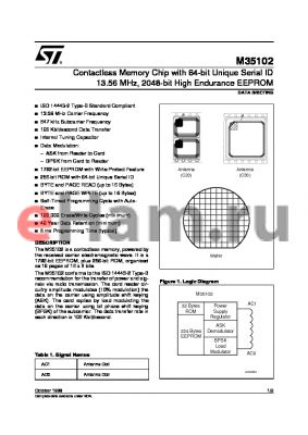 M35102-C20 datasheet - Contactless Memory Chip with 64-bit Unique Serial ID 13.56 MHz, 2048-bit High Endurance EEPROM