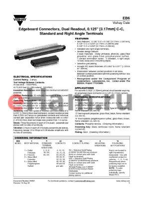 EB61K44 datasheet - Edgeboard Connectors, Dual Readout, 0.125