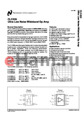CLC425AJP datasheet - Ultra Low Noise Wideband Op Amp