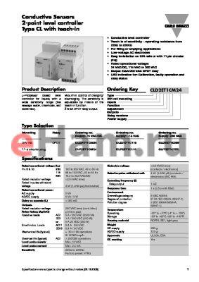 CLP2ET1C230 datasheet - Conductive Sensors 2-point level controller