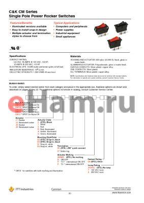 CM101J11S207QA datasheet - Single Pole Power Rocker Switches
