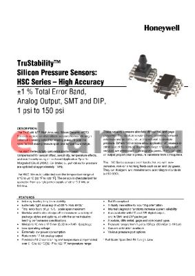 HSCDRND100PAAA3 datasheet - TruStability silicon Pressure Sensors: HSC Series-High Accuracy -1% total Error band,Analog output,SMT and DIP,1 psi to 150 psi