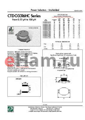 CTDO3316PF-104HC datasheet - Power Inductors - Unshielded