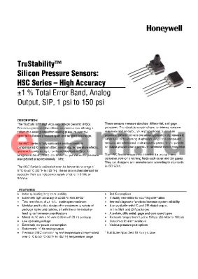 HSCSNBD060PCAA3 datasheet - TruStability silicon Pressure Sensors: HSC Series-High Accuracy -1% total Error band,Analog output,SIP,1 psi to 150 psi