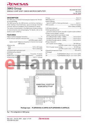 M38K02MC-XXXFP datasheet - SINGLE-CHIP 8-BIT CMOS MICROCOMPUTER