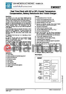 EM3027 datasheet - Real Time Clock with I2C or SPI, Crystal Temperature Compensation, Battery Switchover and Trickle Charger