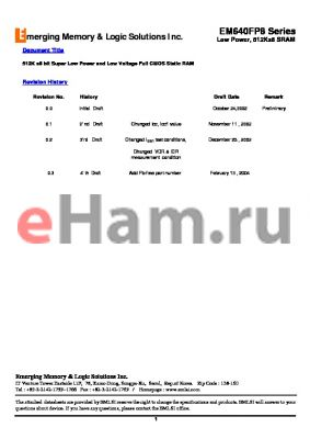 EM611FS16CW-55LL datasheet - 512K x8 bit Super Low Power and Low Voltage Full CMOS Static RAM