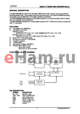EM6132K1600VFA-55 datasheet - 32Kx8 LP SRAM