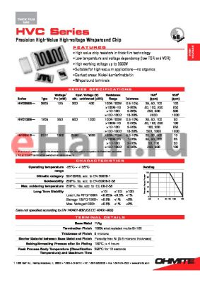 HVC2512W5006GET datasheet - Precision High-Value High-voltage Wraparound Chip
