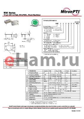 M3E12XQD-R datasheet - 14 pin DIP, 3.3 Volt, ECL/PECL, Clock Oscillator
