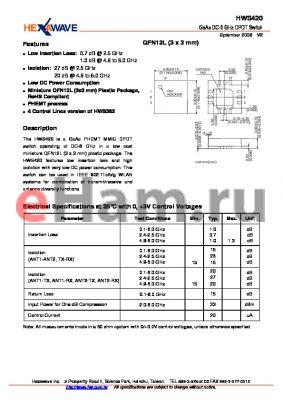 HWS420 datasheet - GaAs DC-6 GHz DPDT Switch
