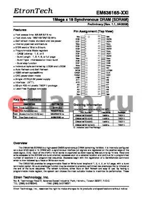EM636165TS-8I/8IG datasheet - 1Mega x 16 Synchronous DRAM (SDRAM)