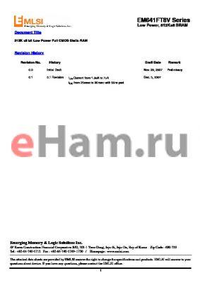 EM680FT16FV-55L datasheet - 512K x8 bit Low Power Full CMOS Static RAM