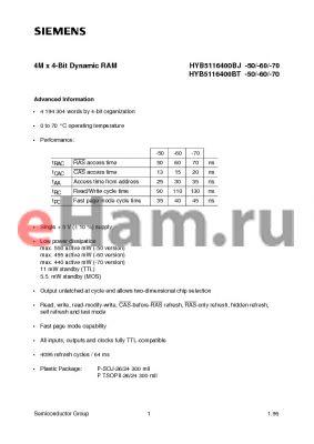 HYB5116400BT-50 datasheet - 4M x 4-Bit Dynamic RAM