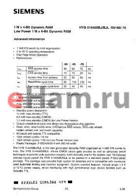 HYB514400BJL-70 datasheet - 1M x 4-BIT DYNAMIC RAM LOW POWER 1M x 4-BIT DYNAMIC RAM