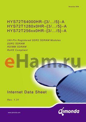 HYS72T256220HR datasheet - 240-Pin Registered DDR2 SDRAM Modules