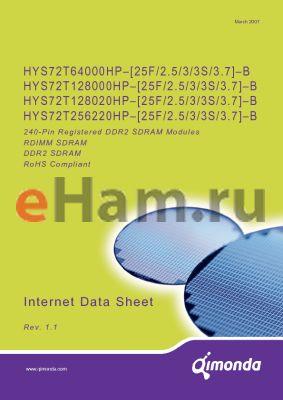 HYS72T256220HP-3S-B datasheet - 240-Pin Registered DDR2 SDRAM Modules