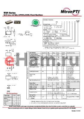 M5R66ZLJ datasheet - 9x14 mm, 3.3 Volt, LVPECL/LVDS, Clock Oscillator
