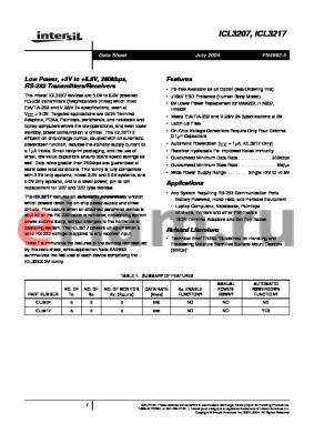 ICL3207IAZ datasheet - Low Power, 3V to 5.5V, 250kbps, RS-232 Transmitters/Receivers